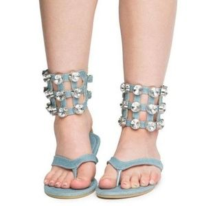 Denim Ankle Rhinestone Sandals